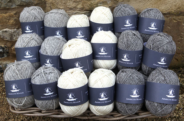 Cotswold Wool - Arncote Manor Wool, from rare-breed Portland and Black Welsh Mountain Sheep. Slaughter free, not bleached or dyed.